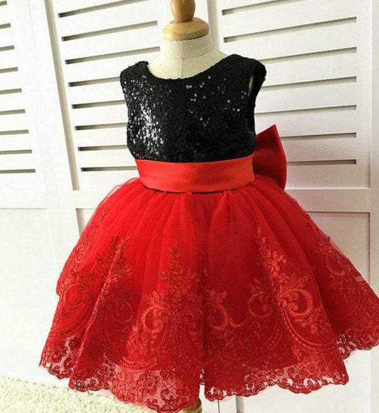 Girly Shop's Black & Red Beautiful Bow Shoulder Sparkle Sequin Round Neckline Sleeveless Knee Length Big Bow Back Baby Infant Toddler Little & Big Girl V Back Dress