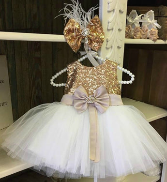 Girly Shop's Gold & White Big Bow Sash Flower Girl Dress