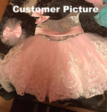 Girly Shop's Silver Sequin & Pink Bow White Lace Ball Gown