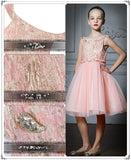 Girly Shop's Light Pink Embroidery Flower Crystal Rhinestones Applique Round Neckline Little Girl Party Dress