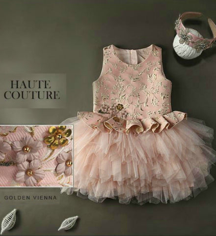 Girly Shop's Pink & Gold Embroidered Tiered Tulle Gown