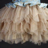 Girly Shop's Gold & Blue Embroidered Tiered Tulle Gown