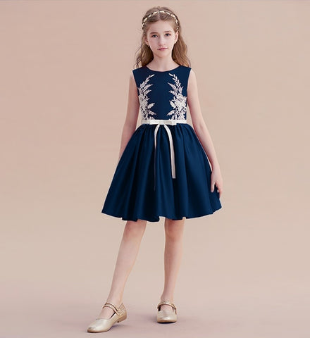 Girly Shop's Navy Blue Sleeveless Round Neckline Knee Length Little & Big Girl Floral Embroidered Party Dress