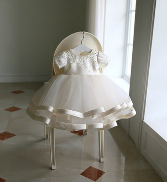 Girly Shop's White Round Neckline Pearl Applique Short Sleeve Big Bow Back Little Girl Party Dress