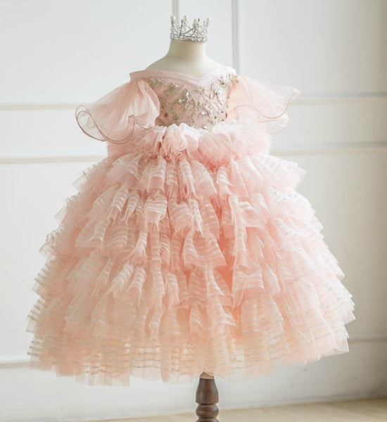Girly Shop's Peachy Pink Beautiful Sweetheart Neckline Flounce Short Sleeve Ankle - Floor Length Tiered Layered V- Back Bow Baby Infant Toddle Little & Big Girl Flower Embroidery Tutu Gown