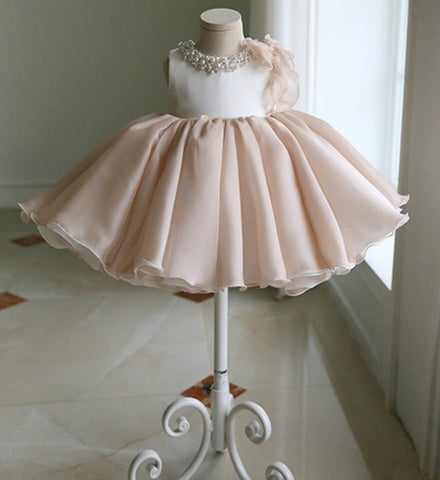 Girly Shop's Dusty Pink Round Neckline Pearl & Crystal Rhinestone Applique Sleeveless Big Bow Back Little Girl Party Dress