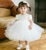 Girly Shop's White Pearl Appliques Baby Girl Party Dress