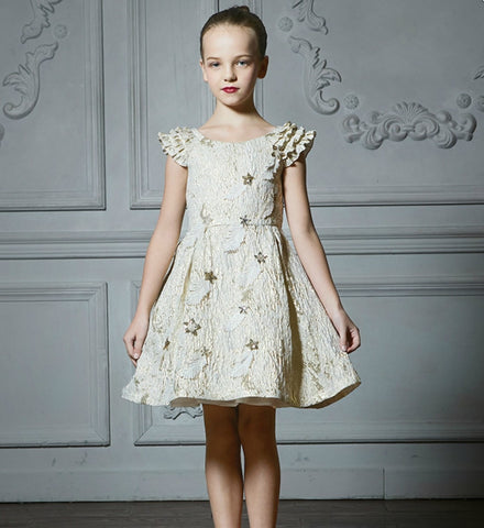 Girly Shop's Ivory & Gold Sequin Embellished Round Neckline Layered Sleeves Little Girl Party Dress