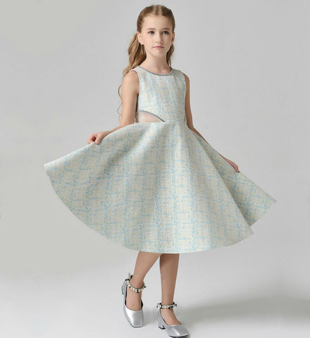Girly Shop's Ivory & Teal Rhinestones Applique Round Neckline Sleeveless Knee -Tea Length Infant Toddler Little & Big Girl Sheer Waist Party Tutu Dress