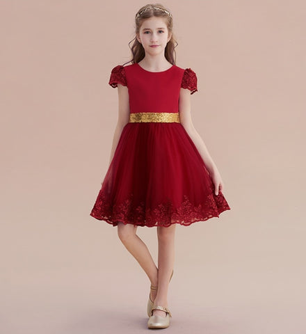 5fe9aa9ba Girly Shop's Red & Gold Sparkle Gold Sequin Applique Round Neckline Lace  Short Sleeve Knee Length