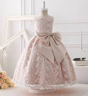 Girly Shop's Dusty Pink Vintage Round Neckline Sleeveless Floor Length Big Bow Baby Infant Toddler Little & Big Girl Embroidered Floral Lace Dress