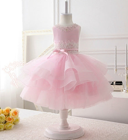 Girly Shop's Light Pink Beautiful Pearl Applique Round Neckline Sleeveless Knee - Tea Length Tiered Layered Baby Infant Toddler Little & Big Girl Party Dress