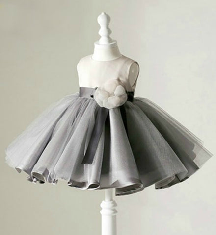 Girly Shop's Light Gray Baby Girl Birthday Outfit