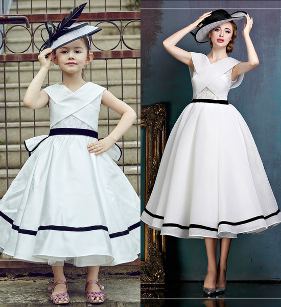 Girly Shop's Black & White Chic & Fancy 5 Layers Ankle Length/ Midi Sleeveless Crisscross Straps Ruffle Back Little Girl Party Dress