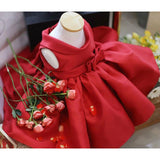 Girly Shop's Red Satin Sleeveless Knee Length Big Bow Back Folded Neckline Baby Girl Party Dress