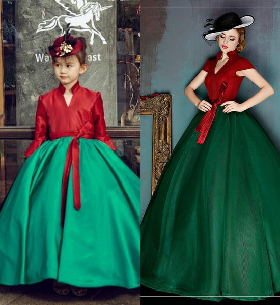 Girly Shop's Dark Red & Dark Green Fancy Elegant Cap Sleeve Long Bell Sleeve Floor Length Mother Daughter Matching Dress