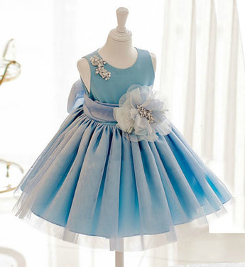 Girly Shop's Baby Blue Flower Girl Dress