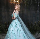 Girly Shop's Light Blue Sleeveless Floor Length Floral Applique Sheer Short Sleeve & Long Tail Woman Gown