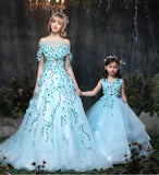 Girly Shop's Sleeveless Floor Length Floral Applique Sheer Short Sleeve Long Tail Mother Daughter Matching Gown