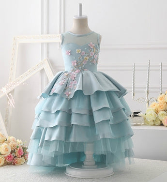 Girly Shop's Baby Blue Beautiful Floral Applique Sheer Round Neckline Sleeveless Floor Length Tiered Layered Little & Big Girl Party Gown