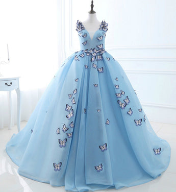 Girly Shop's Light Blue Sleeveless Sweetheart Neckline Butterfly Applique Lace Up V Back Little Girl Train Gown