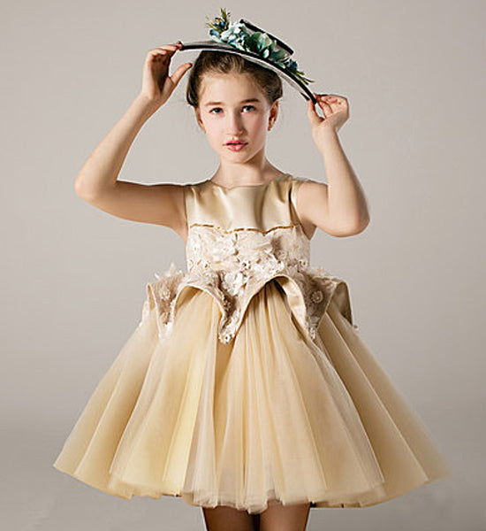 Girly Shop's Champagne Elegant Floral Applique Round Neckline Sleeveless Knee Length Infant Toddler Little Girl Tiered High Low Train Party Dress