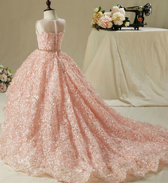 Girly Shop's Pastel Pink Beautiful 3D Floral Applique Sheer Round Neckline High low Train Flower Girl Gown