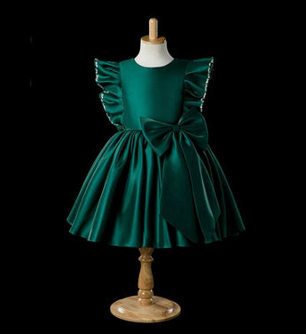 Girly Shop's Green Beautiful Round Neckline Beaded Ruffle Sleeve Big Bow Knee Length Baby Infant Toddler Little & Big Girl Party Dress