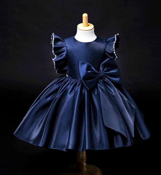 Girly Shop's Navy Blue Beautiful Round Neckline Beaded Ruffle Sleeve Big Bow Knee Length Baby Infant Toddler Little & Big Girl Party Dress