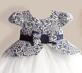 Girly Shop's Dark Blue & White Beautiful & Cheap Round Neckline Cap Sleeve Knee Length Bow sash Belt Baby Infant Toddler Little & Big Girl Lace Flower Dress