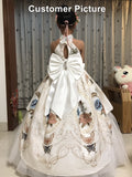Girly Shop's Off White Beautiful Halter Neck Sleeveless Oversized Front & Back Bow Keyhole Back Tiered Layered Toddler Little & Big Girl Embroidered Flower Princess Gown