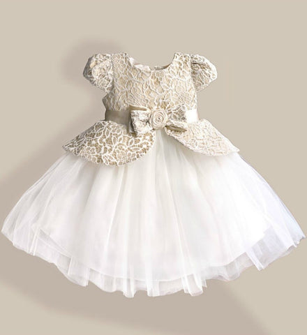 Girly Shop's Ivory & White Beautiful & Cheap Round Neckline Cap Sleeve Knee Length Bow sash Belt Baby Infant Toddler Little & Big Girl Lace Flower Dress