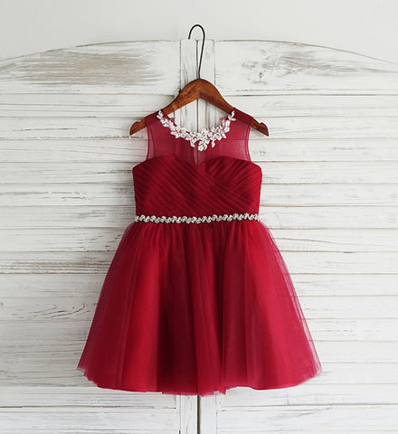 Girly Shop's Dark Red Floral Embroidered & Rhinestones Applique Sheer Round Neckline Sleeveless Knee Length Little & Big Girl Floral Party Dress