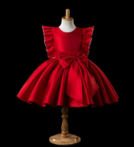 Girly Shop's Red Beautiful Round Neckline Beaded Ruffle Sleeve Big Bow Knee Length Baby Infant Toddler Little & Big Girl Party Dress