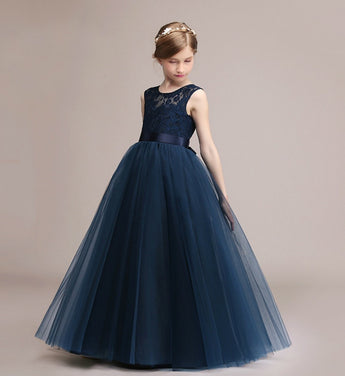 Girly Shop's Navy Blue Semi Sheer Round Neckline Sleeveless Floor Length Infant Toddler Little & Big Girl Lace Tutu Dress