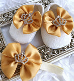 Girly Shop's Yellow Custom Made Rhinestones Crown Princess Baby Girl Ballet Shoes With Matching Headband