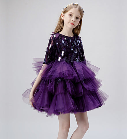 Girly Shop's Dark Purple Beautiful Sequin Applique Round Neckline Half Sleeve Knee Length Infant Toddler Little Girl Tiered High Low Train Gown