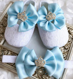 Girly Shop's Blue Custom Made Rhinestones Crown Princess Baby Girl Ballet Shoes With Matching Headband