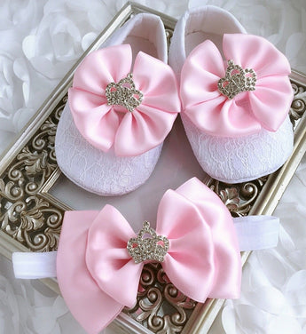 Girly Shop's Pink Custom Made Rhinestones Crown Princess Baby Girl Ballet Shoes With Matching Headband
