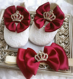 Girly Shop's Burgundy Custom Made Rhinestones Crown Princess Baby Girl Ballet Shoes With Matching Headband