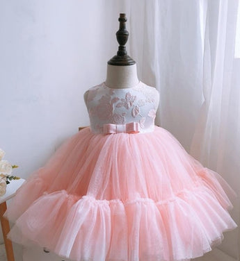 Girly Shop's Light Pink Floral Embroidery Round Neckline Sleeveless Tea Length Tiered Layered Bow Back Baby Infant Toddler Little Girl Tutu Dress