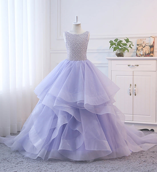 Girly Shop's Lavender Elegant Beaded Applique Sleeveless Floor Length Backless Tiered Layered Baby Infant Toddler Little & Big Girl Train Gown