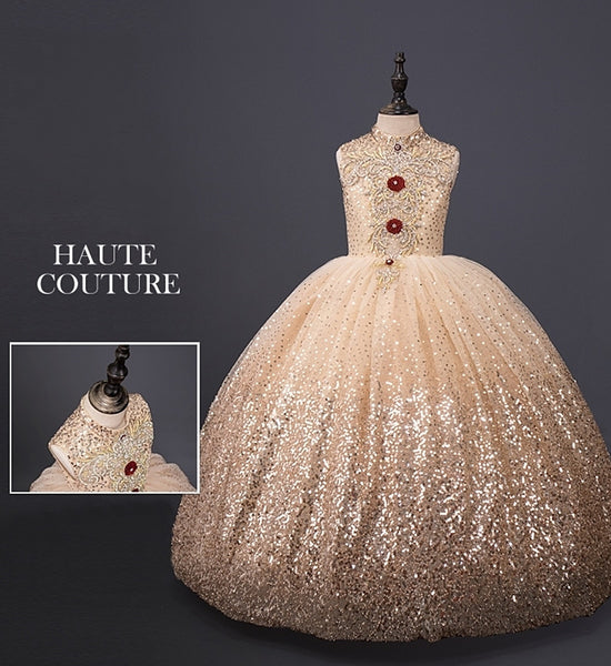 Girly Shop's Gold Champagne Elegant Design Embroidery Sparkle Sequin Applique High Neckline Sleeveless Infant Toddler Little & Big Girl  Party Gown