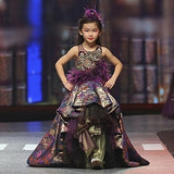 Girly Shop's Romantic Purple Elegant Design Embroidery Floral Sequin & Feathers Applique Sheer Round Neckline Sleeveless Tiered Layered Infant Toddler Little & Big Girl Ruffles High Low Train Ball Gown