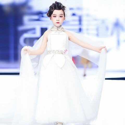 Girly Shop's White Elegant Design Embroidery Sparkle Sequin Applique Mandarin Collar Sleeveless Infant Toddler Little & Big Girl Ruffle Floral Petal Party Gown