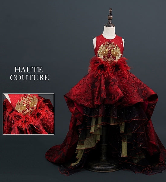 Girly Shop's Burgundy & Gold Elegant Design Embroidery Floral & Feathers Applique Sheer Round Neckline Cold Shoulders Bell Short Sleeve Tiered Layered Infant Toddler Little & Big Girl Ruffles High Low Train Ball Gown