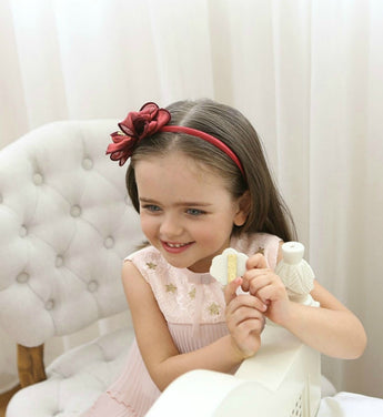 Girly Shop's Dark Red Cute Toddler Bow Knot Crown Flower Girl Headband