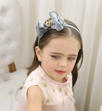 Girly Shop's Gray Cute Toddler Bow Knot Crown Flower Girl Headband
