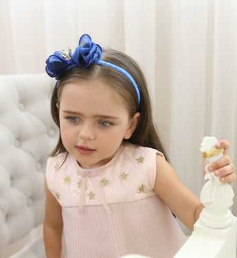 Girly Shop's Blue Cute Toddler Bow Knot Crown Flower Girl Headband