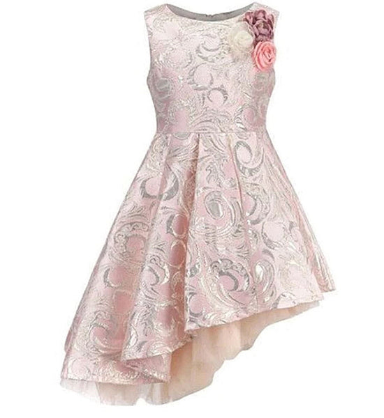 Girly Shop's Light Pink High Quality Silver Floral Embroidered Applique Round Neckline Sleeveless Knee Length Little & Big Girl Party High Low Dress